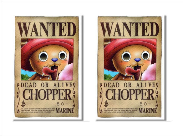wanted chopper one piece poster template