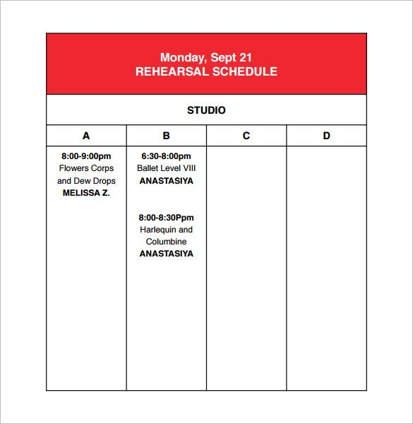 studio rehearsal schedule template download pdf
