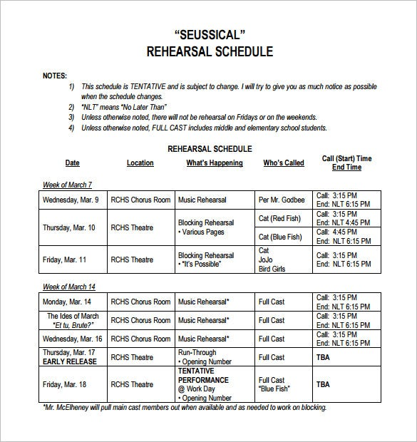 seussical rehearsal schedule template pdf download