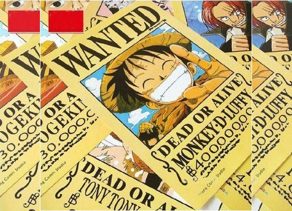 topbill anime one piece pirates wanted poster download
