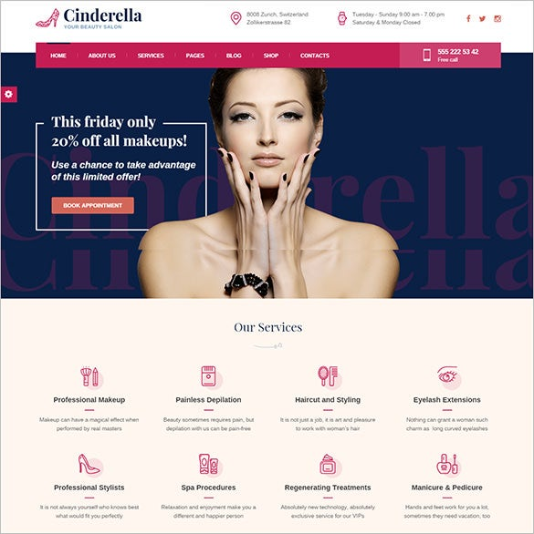 beautiful salon wordpress woocommerce theme