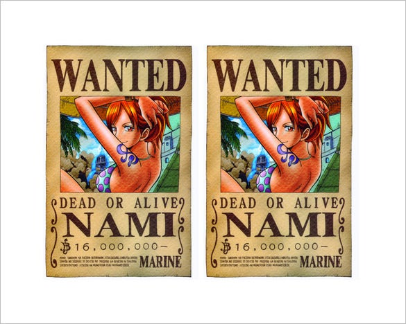 wanted nami custom canvas one piece poster