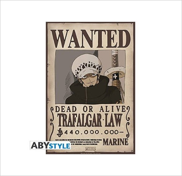 wanted trafalgar law one piece poster