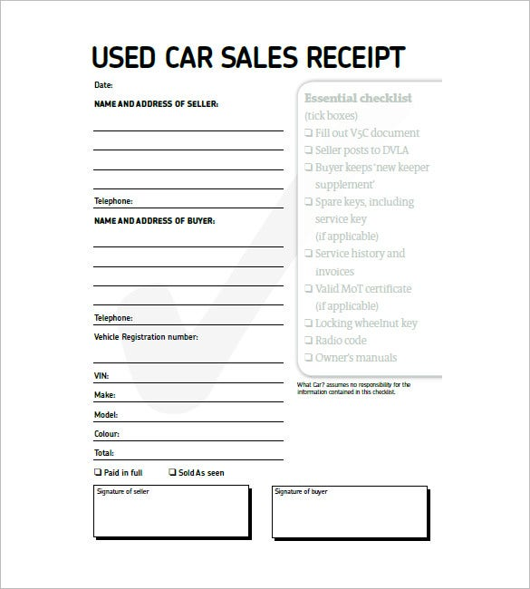 used car invoice template