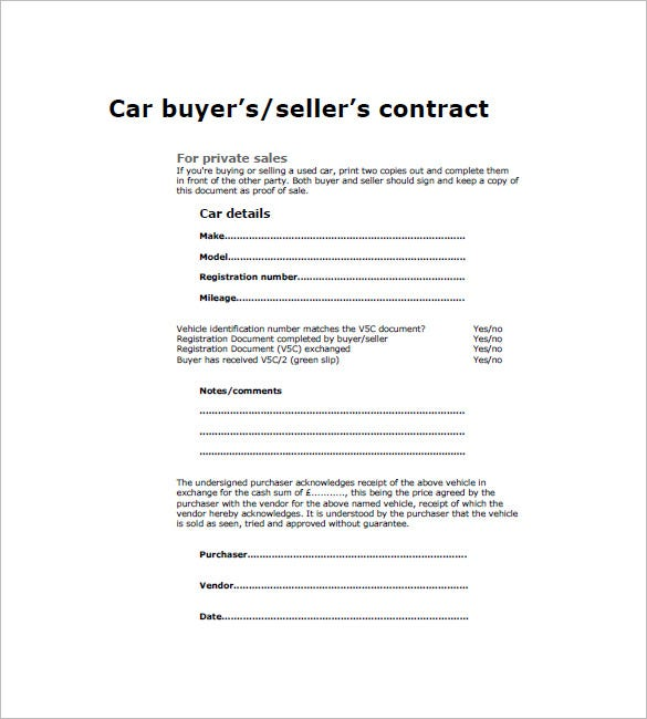 party car sale contract template