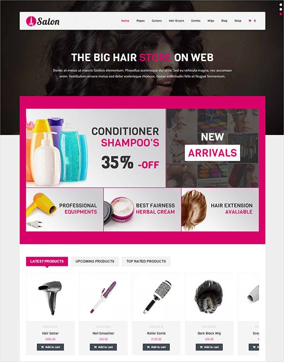 beauty hair wordpress woocommerce template
