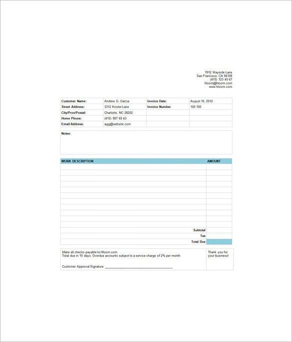 free basic service invoice estimate template
