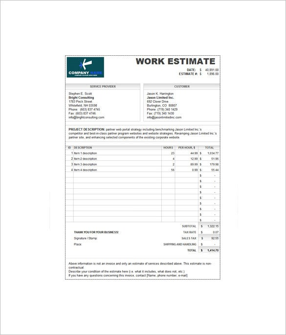 sample work estimate invoice template