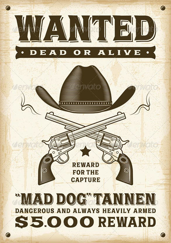 14 Western Wanted Poster Free Printable Word PDF PSD Vector