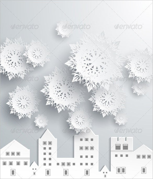 paper snowflakes and town psd design