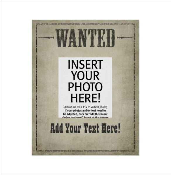 18 western wanted poster templates free printable for Free wanted poster template