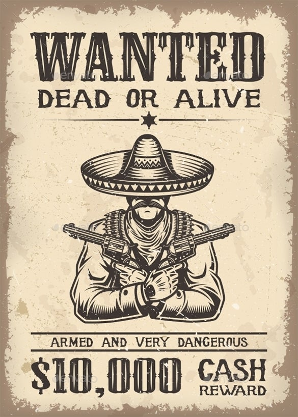 18 Western Wanted Poster Templates Free Printable Sample – Sample Wanted Poster