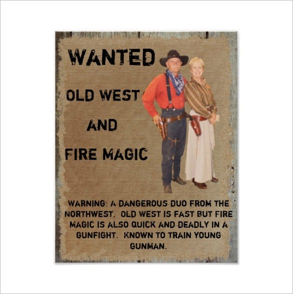 wanted western poster gunslinger template download