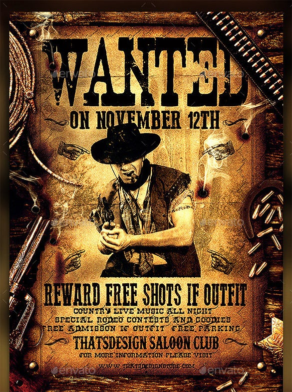 wanted western party poster psd template download