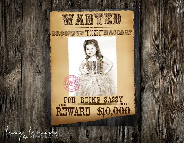 wanted cowgirl western poster template download