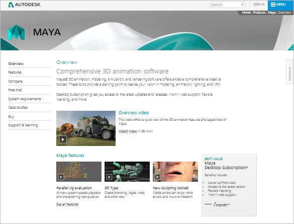 Maya - Comprehensive 3D Animation Software