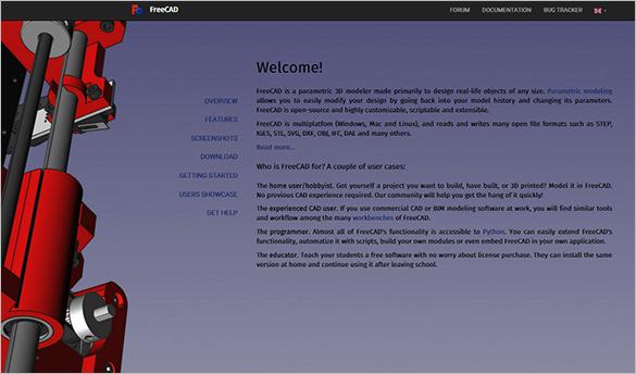 freecad open source 3d modeler