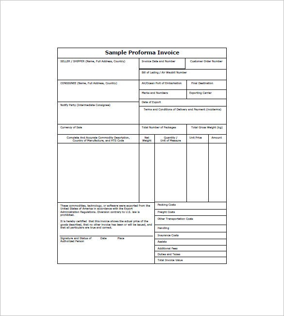 proforma format sample