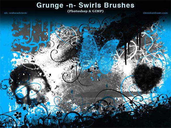 26 grunge swrills skulls brushes1