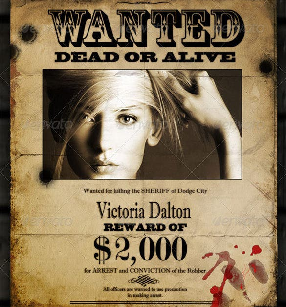 Amazing The PSD Old Wanted Poster Template Uses Different Graphical Features To Make  The Wanted Poster Look Really Old With Black Spots And Tattered All Over  The ...  Create A Wanted Poster Free