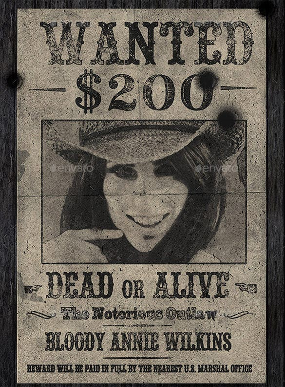 Old Wanted Poster Templates  Free Printable Sample Example