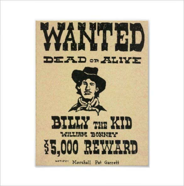 billy the kid old wild west wanted poster template