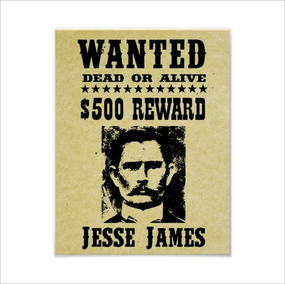 jesse james old wanted poster template download