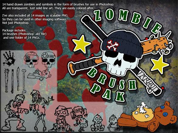 14 zombie skull brushes