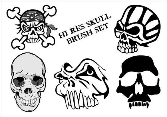 7 skull brush set