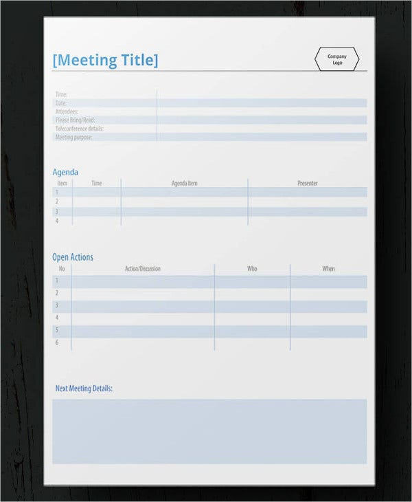practical meeting minute template