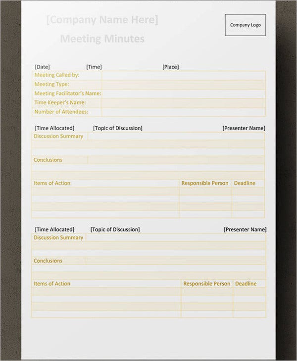 multiple meeting minutes template