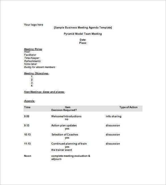 Sample Meeting Agenda Format  PetitComingoutpolyCo