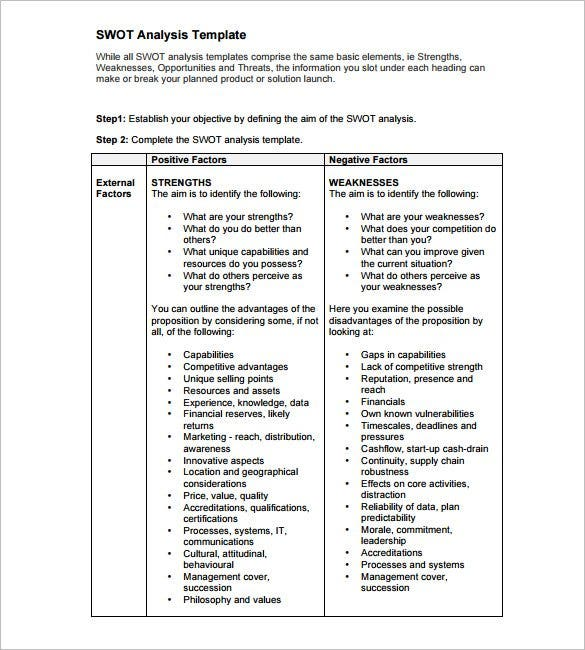 business swot analysis template pdf download1