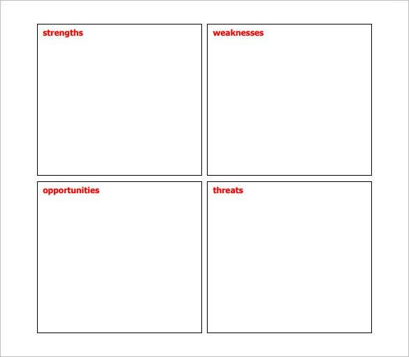 Sample Blank Business SWOT Analysis Template PDF  Blank Swot Analysis Template