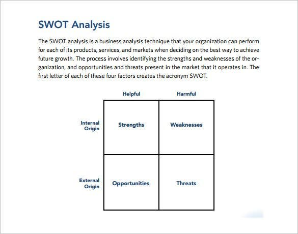 Strategic SWOT Analysis Template PDF Example