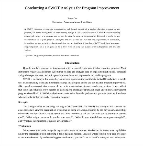 SWOT Analysis Template 46 Free Word Excel PDF – Example of a Swot Analysis Paper