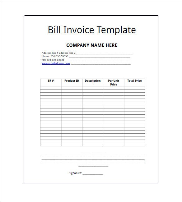 Bill Invoice Template Free  BesikEightyCo