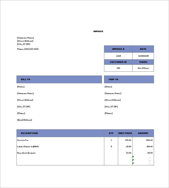 Billing Invoice Template 8 Free Sample Example Format Download