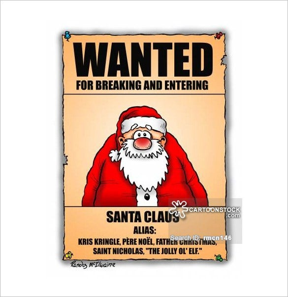 funny santa claus wanted poster download