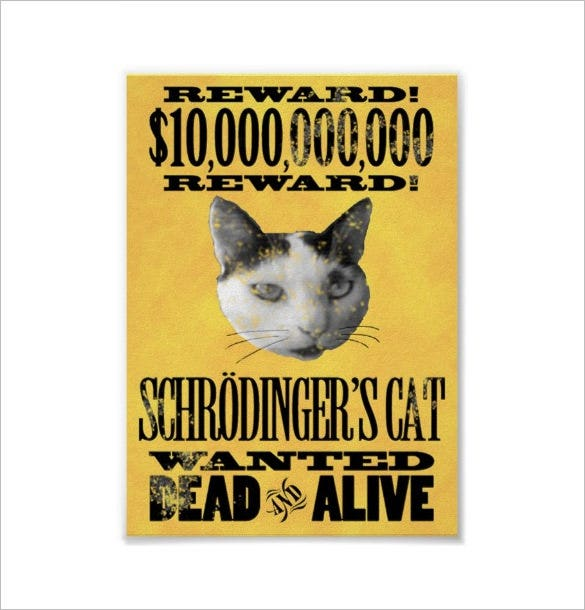 schrodingers cat funny wanted posters