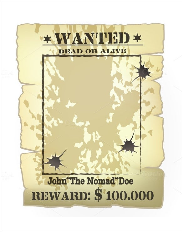 blank eps western wanted poster template
