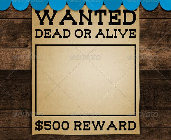 PSD Blank Wanted Poster Sample Template Download  Free Wanted Poster Template Download