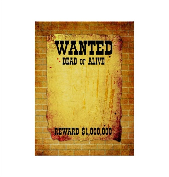 graphic regarding Printable Wanted Poster known as 11+ Blank Ideal Posters - No cost Printable, Phrase, PDF, PSD