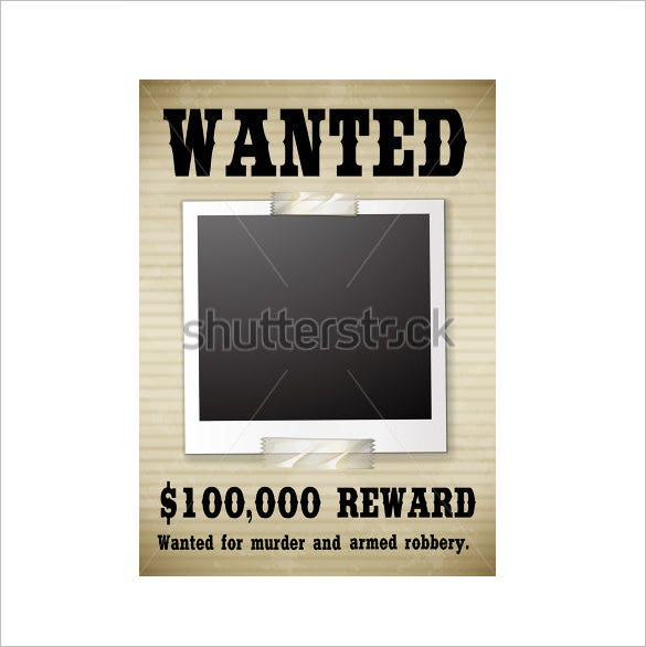 reward money blank wanted poster template