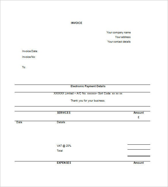 Contractor Invoice Template   Free Sample Example Format