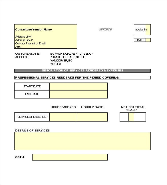 Contractor Invoice Template 8 Free Sample Example Format – Examples of Invoices for Services Rendered