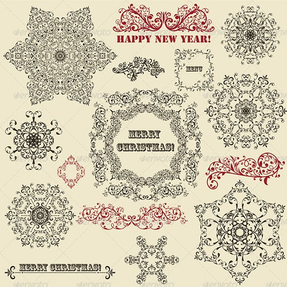 vintage floral design elements and snowflake stencil psd