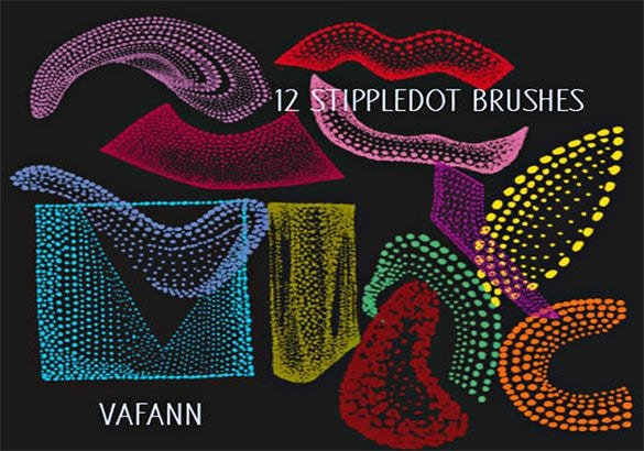 12 stipple dot photoshop brushes
