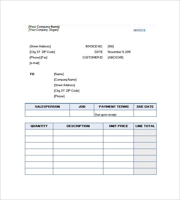 free downloadable service invoice sample - Service Invoice Template