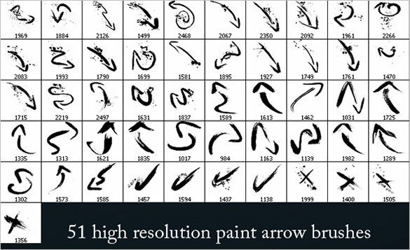 51 paint arrow photoshop brushes